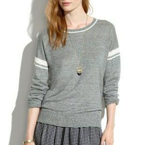 Madewell gray linen pullover Varsity sweater top